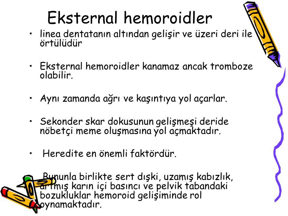 Eksternal hemoroidler linea dentatanın altından gelişir ve üzeri deri ile örtülüdür Eksternal hemoroidler kanamaz ancak tromboze olabilir.