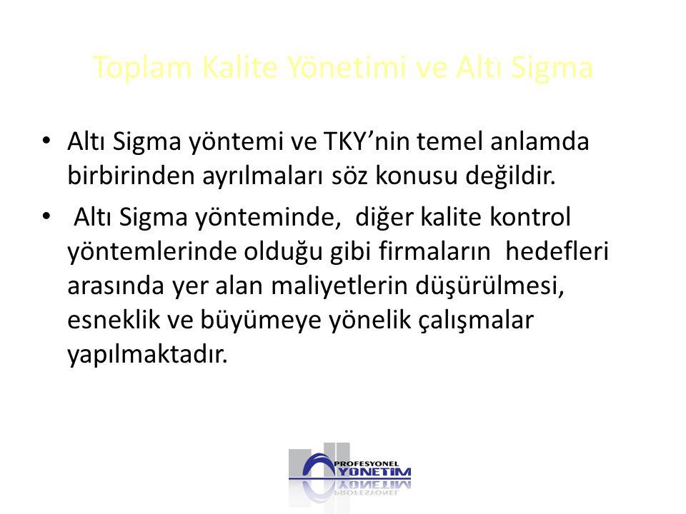 Toplam Kalite Yönetimi ve Altı Sigma Altı Sigma yöntemi ve TKY'nin temel anlamda birbirinden ayrılmaları söz konusu değildir.