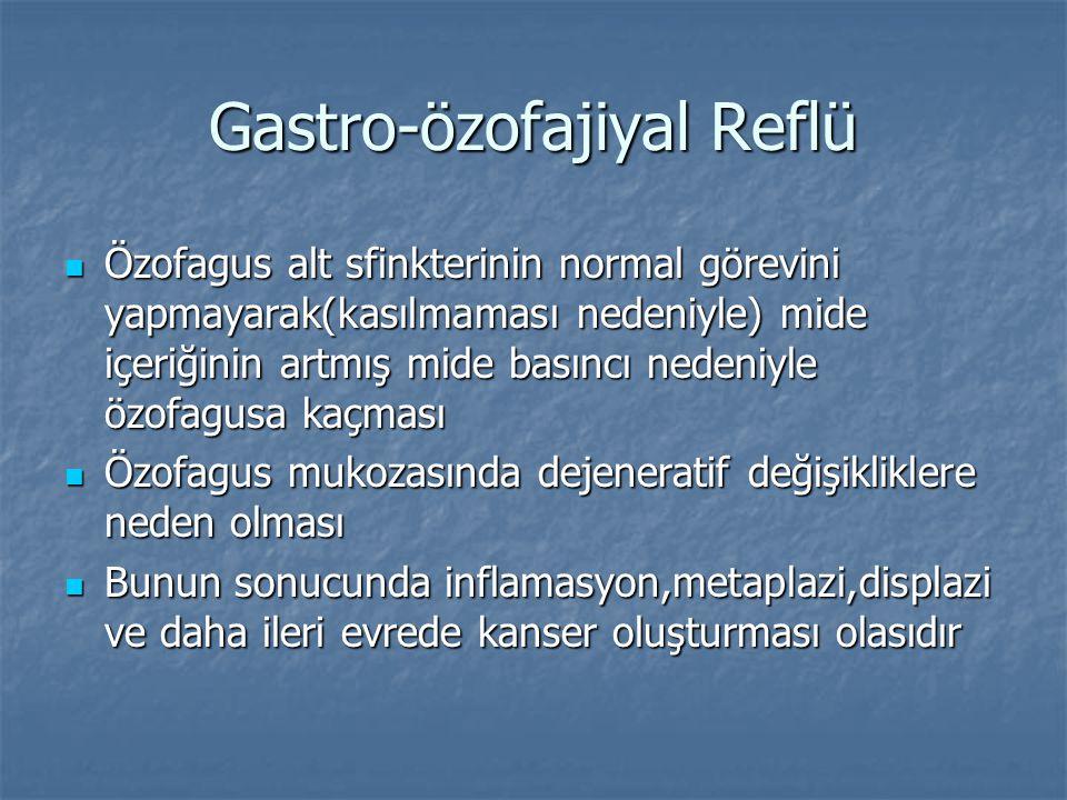 Gastro-özofajiyal Reflü Özofagus alt sfinkterinin normal görevini yapmayarak(kasılmaması nedeniyle) mide içeriğinin artmış mide basıncı nedeniyle özof