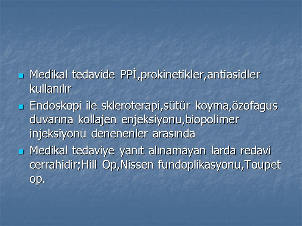 Medikal tedavide PPİ,prokinetikler,antiasidler kullanılır Medikal tedavide PPİ,prokinetikler,antiasidler kullanılır Endoskopi ile skleroterapi,sütür k