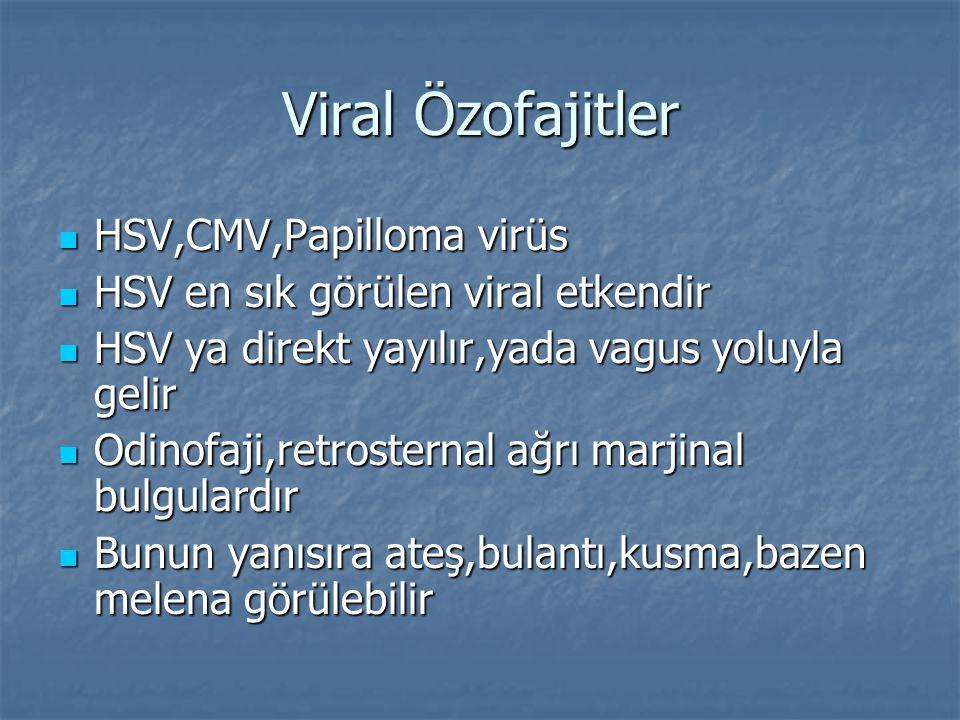 Viral Özofajitler HSV,CMV,Papilloma virüs HSV,CMV,Papilloma virüs HSV en sık görülen viral etkendir HSV en sık görülen viral etkendir HSV ya direkt ya