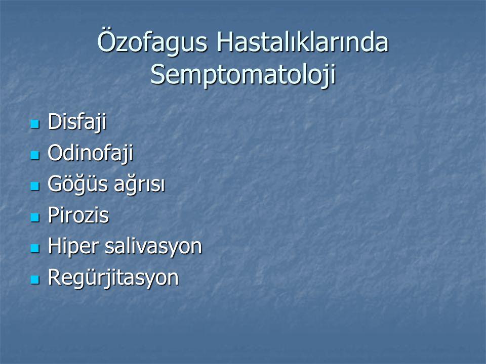 Özofagus Hastalıklarında Semptomatoloji Disfaji Disfaji Odinofaji Odinofaji Göğüs ağrısı Göğüs ağrısı Pirozis Pirozis Hiper salivasyon Hiper salivasyo