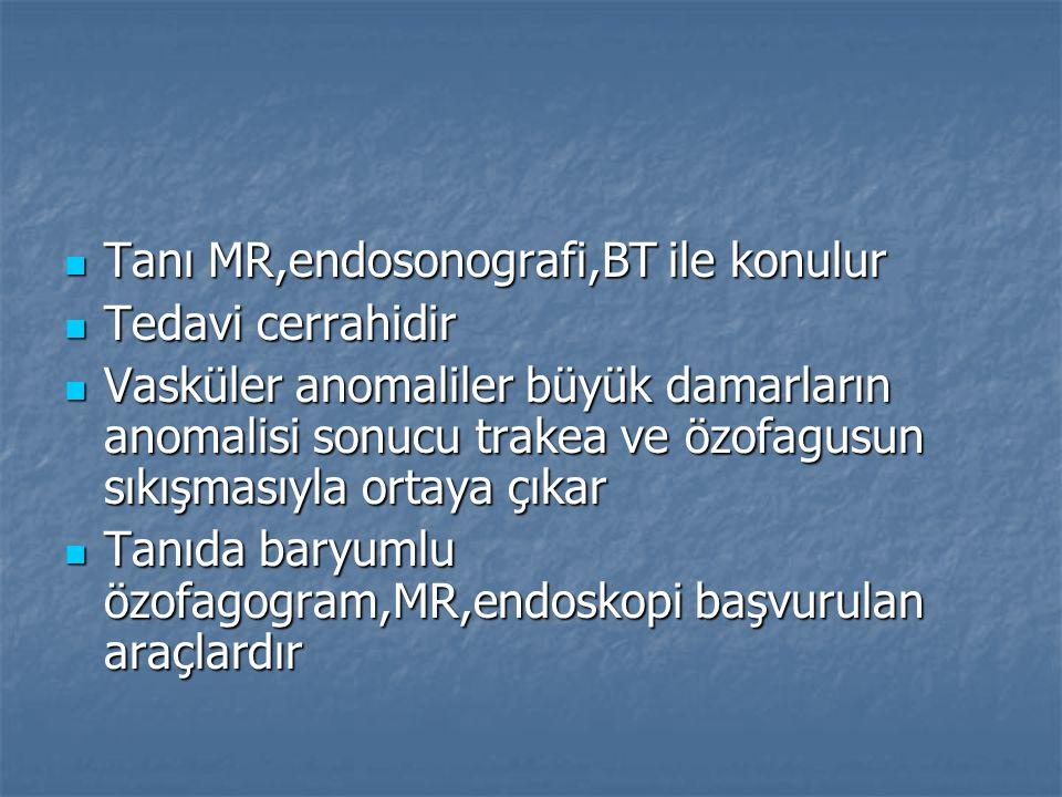 Tanı MR,endosonografi,BT ile konulur Tanı MR,endosonografi,BT ile konulur Tedavi cerrahidir Tedavi cerrahidir Vasküler anomaliler büyük damarların ano