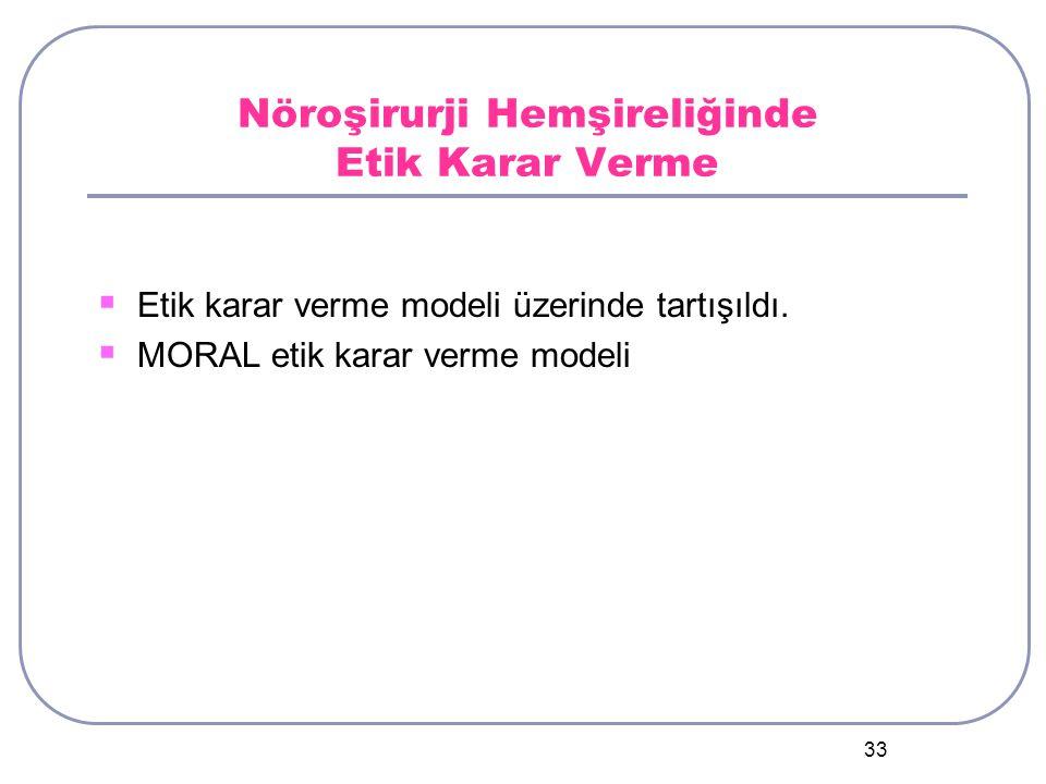 33 Nöroşirurji Hemşireliğinde Etik Karar Verme  Etik karar verme modeli üzerinde tartışıldı.