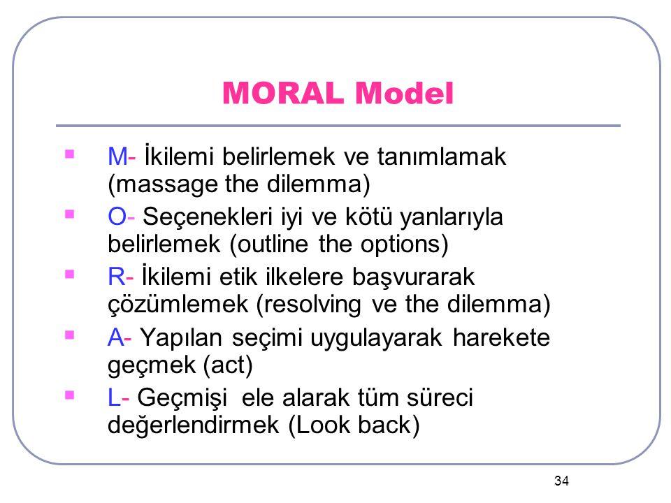 34 MORAL Model  M- İkilemi belirlemek ve tanımlamak (massage the dilemma)  O- Seçenekleri iyi ve kötü yanlarıyla belirlemek (outline the options)  R- İkilemi etik ilkelere başvurarak çözümlemek (resolving ve the dilemma)  A- Yapılan seçimi uygulayarak harekete geçmek (act)  L- Geçmişi ele alarak tüm süreci değerlendirmek (Look back)