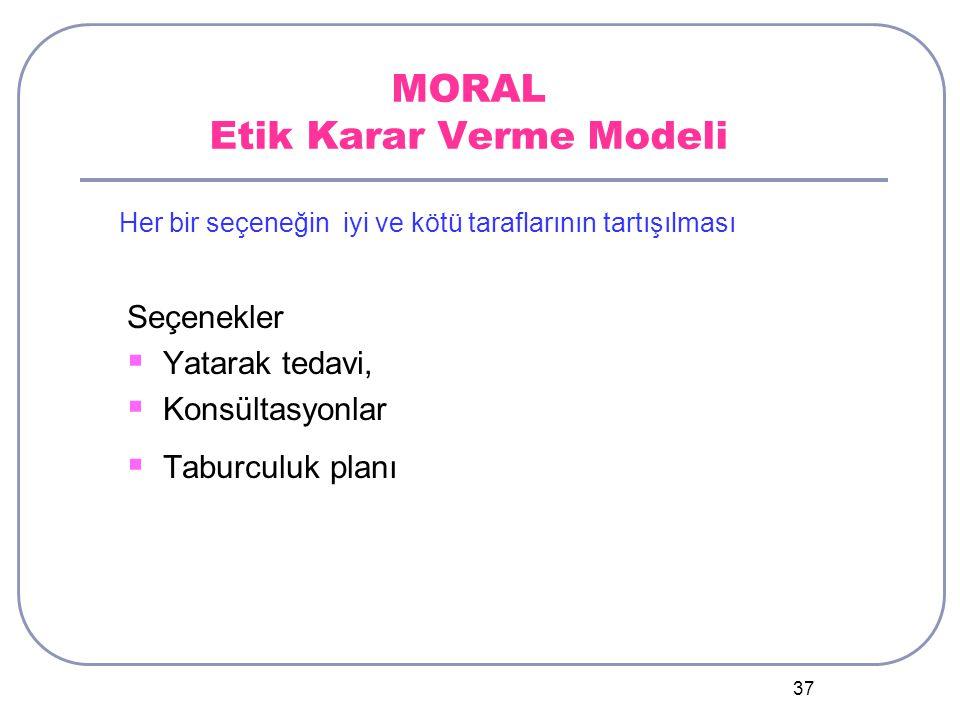 37 MORAL Etik Karar Verme Modeli Seçenekler  Yatarak tedavi,  Konsültasyonlar  Taburculuk planı Her bir seçeneğin iyi ve kötü taraflarının tartışılması