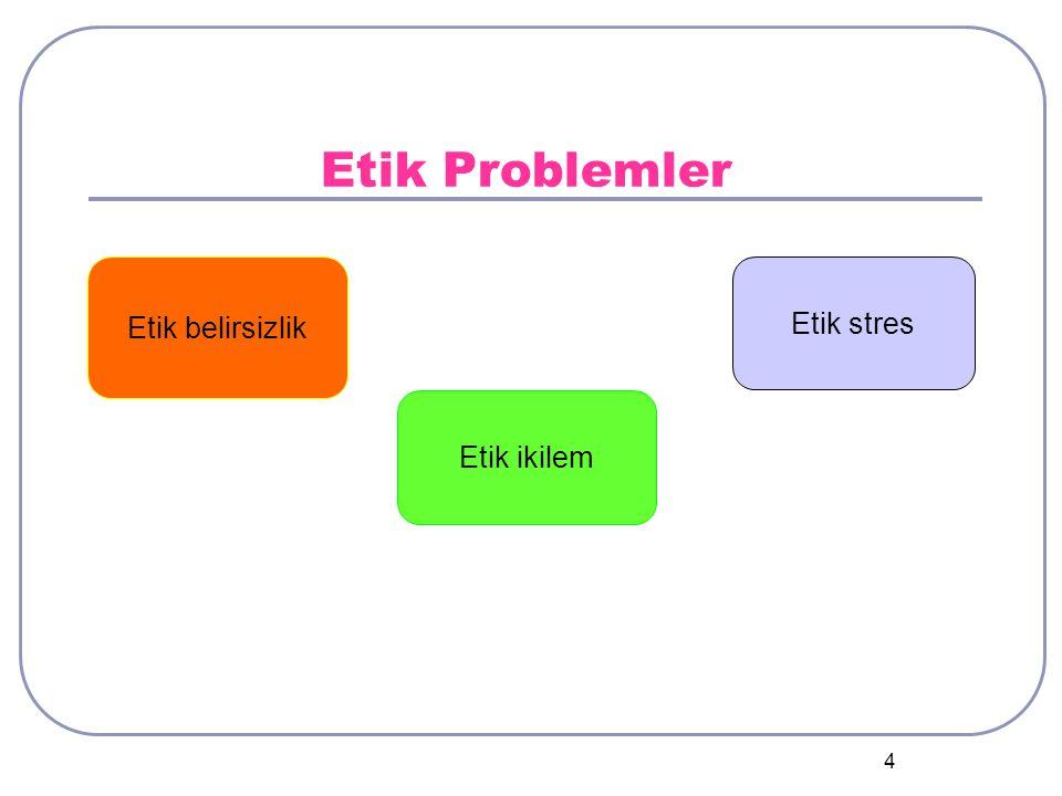 4 Etik Problemler Etik ikilem Etik belirsizlik Etik stres