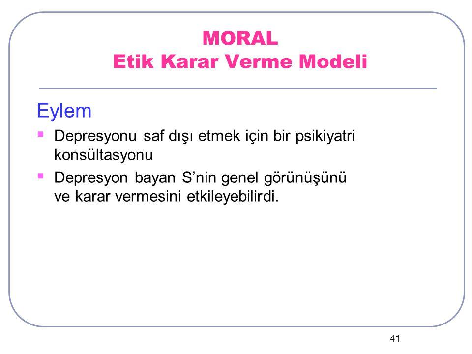 41 MORAL Etik Karar Verme Modeli Eylem  Depresyonu saf dışı etmek için bir psikiyatri konsültasyonu  Depresyon bayan S'nin genel görünüşünü ve karar vermesini etkileyebilirdi.