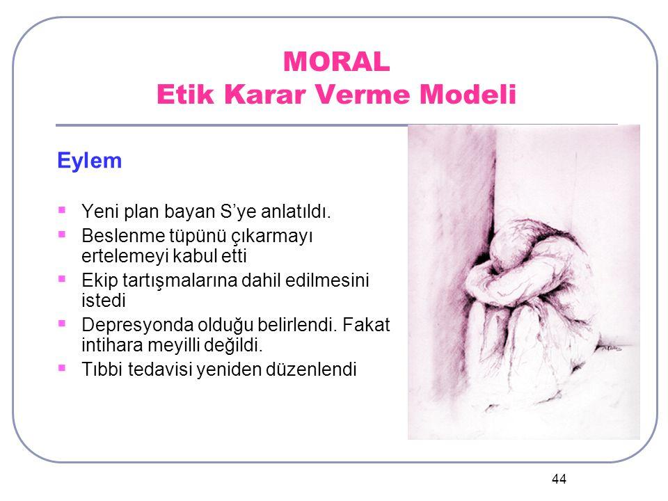 44 MORAL Etik Karar Verme Modeli Eylem  Yeni plan bayan S'ye anlatıldı.