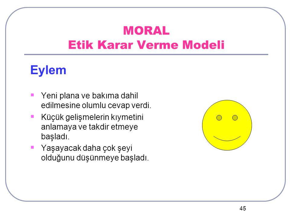 45 MORAL Etik Karar Verme Modeli Eylem  Yeni plana ve bakıma dahil edilmesine olumlu cevap verdi.