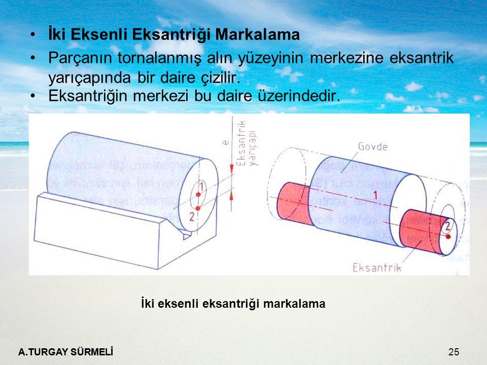 A.TURGAY SÜRMELİ 25 İki Eksenli Eksantriği Markalama Parçanın tornalanmış alın yüzeyinin merkezine eksantrik yarıçapında bir daire çizilir. Eksantriği