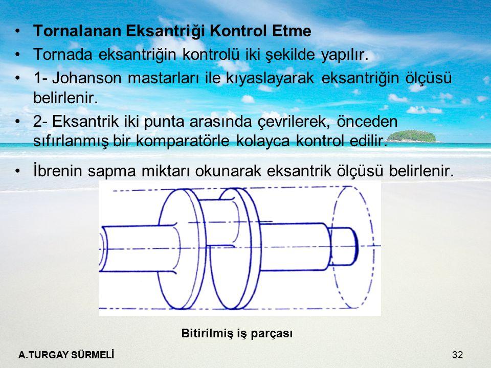 A.TURGAY SÜRMELİ 32 Tornalanan Eksantriği Kontrol Etme Tornada eksantriğin kontrolü iki şekilde yapılır. 1- Johanson mastarları ile kıyaslayarak eksan