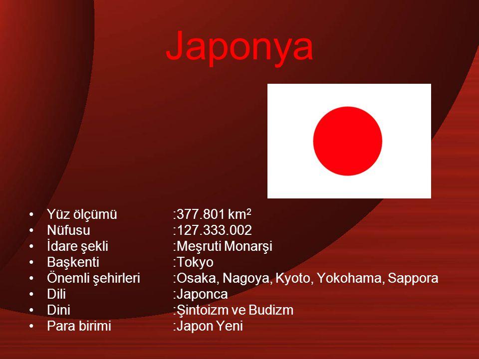 Japonya Yüz ölçümü:377.801 km 2 Nüfusu:127.333.002 İdare şekli:Meşruti Monarşi Başkenti:Tokyo Önemli şehirleri :Osaka, Nagoya, Kyoto, Yokohama, Sappor