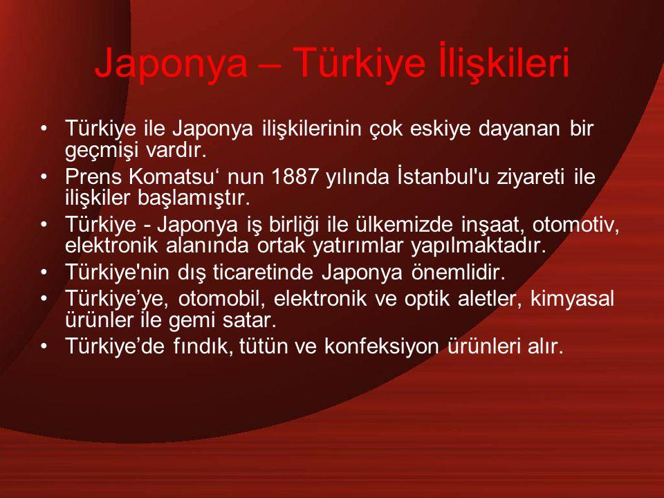 Japonya – Türkiye İlişkileri Türkiye ile Japonya ilişkilerinin çok eskiye dayanan bir geçmişi vardır. Prens Komatsu' nun 1887 yılında İstanbul'u ziyar