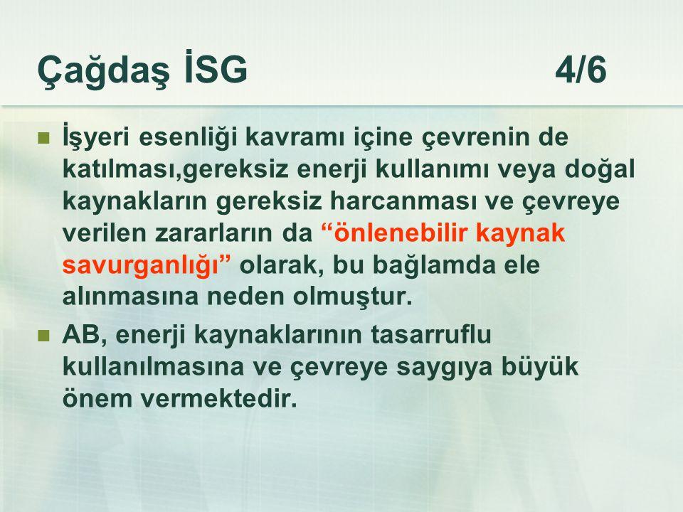 Çağdaş İSG 4/6 İşyeri esenliği kavramı içine çevrenin de katılması,gereksiz enerji kullanımı veya doğal kaynakların gereksiz harcanması ve çevreye ver
