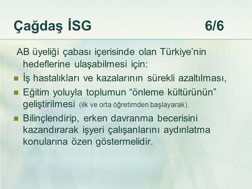 Çağdaş İSG 6/6 AB üyeliği çabası içerisinde olan Türkiye'nin hedeflerine ulaşabilmesi için: İş hastalıkları ve kazalarının sürekli azaltılması, Eğitim