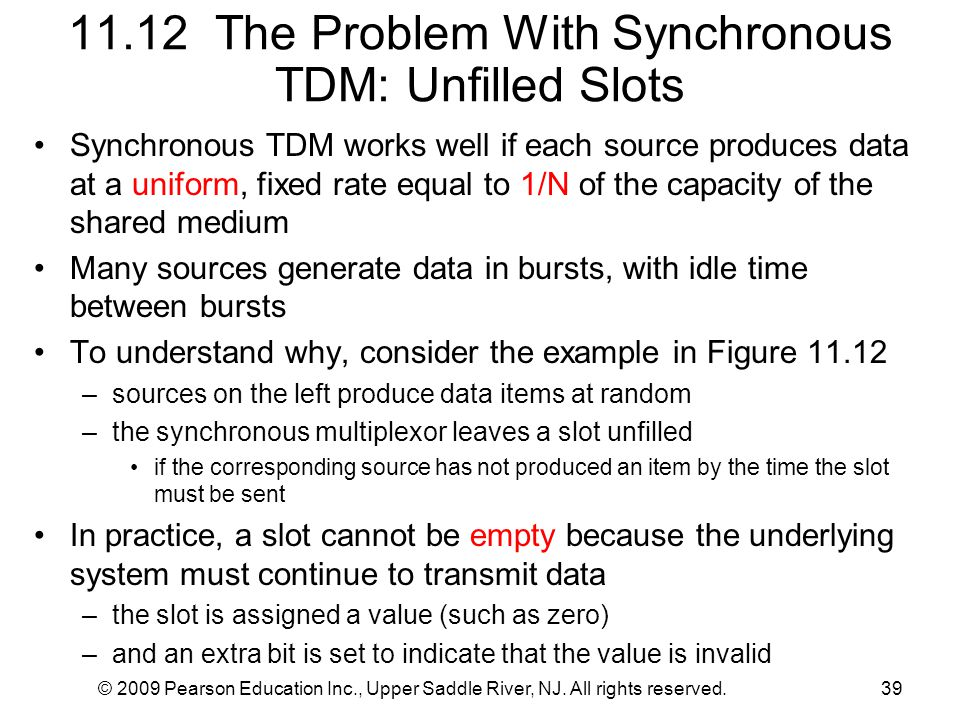 © 2009 Pearson Education Inc., Upper Saddle River, NJ. All rights reserved.39 11.12 The Problem With Synchronous TDM: Unfilled Slots Synchronous TDM w
