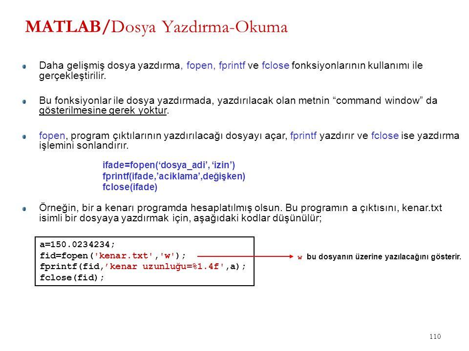 110 MATLAB/Dosya Yazdırma-Okuma Daha gelişmiş dosya yazdırma, fopen, fprintf ve fclose fonksiyonlarının kullanımı ile gerçekleştirilir. Bu fonksiyonla