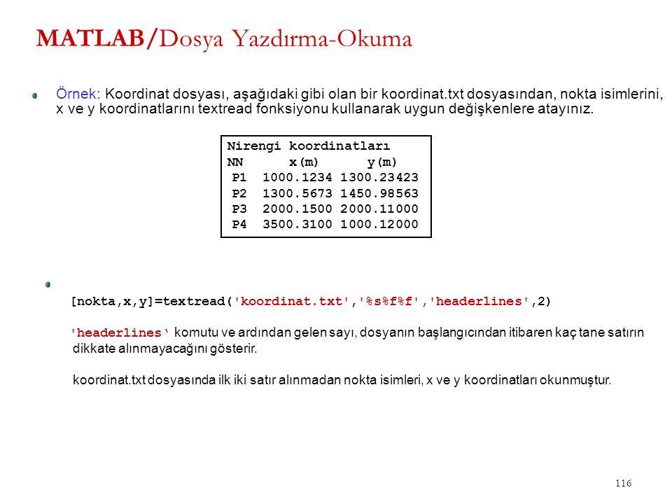 116 MATLAB/Dosya Yazdırma-Okuma Örnek: Koordinat dosyası, aşağıdaki gibi olan bir koordinat.txt dosyasından, nokta isimlerini, x ve y koordinatlarını