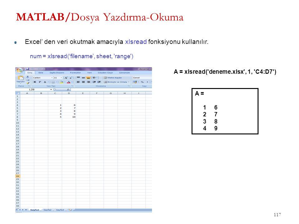 MATLAB/Dosya Yazdırma-Okuma 117 num = xlsread('filename', sheet, 'range') Excel' den veri okutmak amacıyla xlsread fonksiyonu kullanılır. A = xlsread(