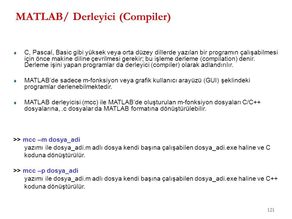MATLAB/ Derleyici (Compiler) 121 C, Pascal, Basic gibi yüksek veya orta düzey dillerde yazılan bir programın çalışabilmesi için önce makine diline çev