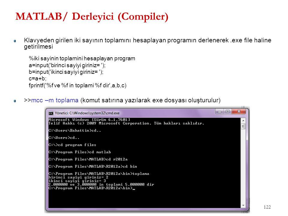 MATLAB/ Derleyici (Compiler) 122 Klavyeden girilen iki sayının toplamını hesaplayan programın derlenerek.exe file haline getirilmesi >>mcc –m toplama