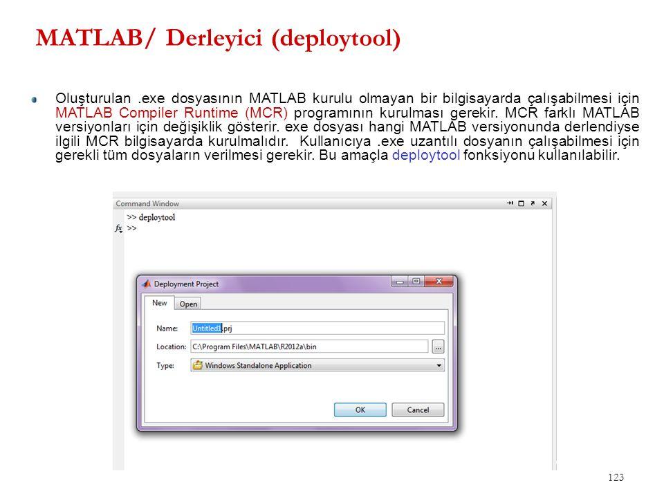 MATLAB/ Derleyici (deploytool) 123 Oluşturulan.exe dosyasının MATLAB kurulu olmayan bir bilgisayarda çalışabilmesi için MATLAB Compiler Runtime (MCR)