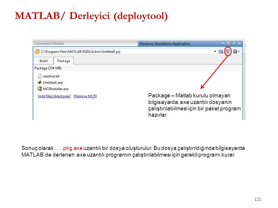MATLAB/ Derleyici (deploytool) 125 Package – Matlab kurulu olmayan bilgisayarda, exe uzantılı dosyanın çalıştırılabilmesi için bir paket program hazır