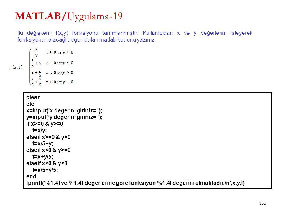 MATLAB/Uygulama-19 131 İki değişkenli f(x,y) fonksiyonu tanımlanmıştır. Kullanıcıdan x ve y değerlerini isteyerek fonksiyonun alacağı değeri bulan mat