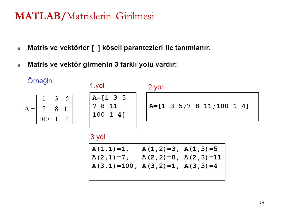 14 MATLAB/Matrislerin Girilmesi Matris ve vektörler [ ] köşeli parantezleri ile tanımlanır. Matris ve vektör girmenin 3 farklı yolu vardır: Örneğin: A