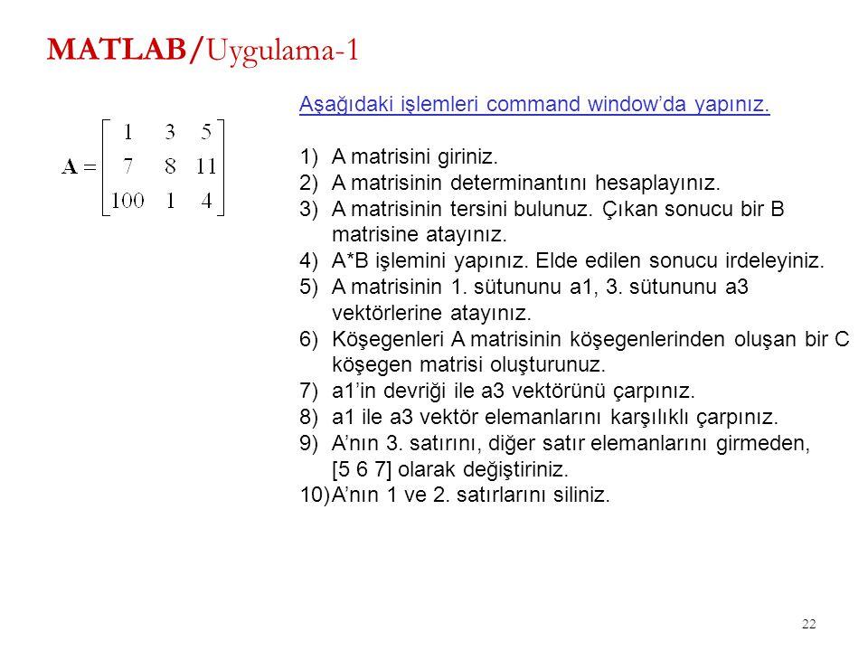 22 MATLAB/Uygulama-1 Aşağıdaki işlemleri command window'da yapınız. 1)A matrisini giriniz. 2)A matrisinin determinantını hesaplayınız. 3)A matrisinin