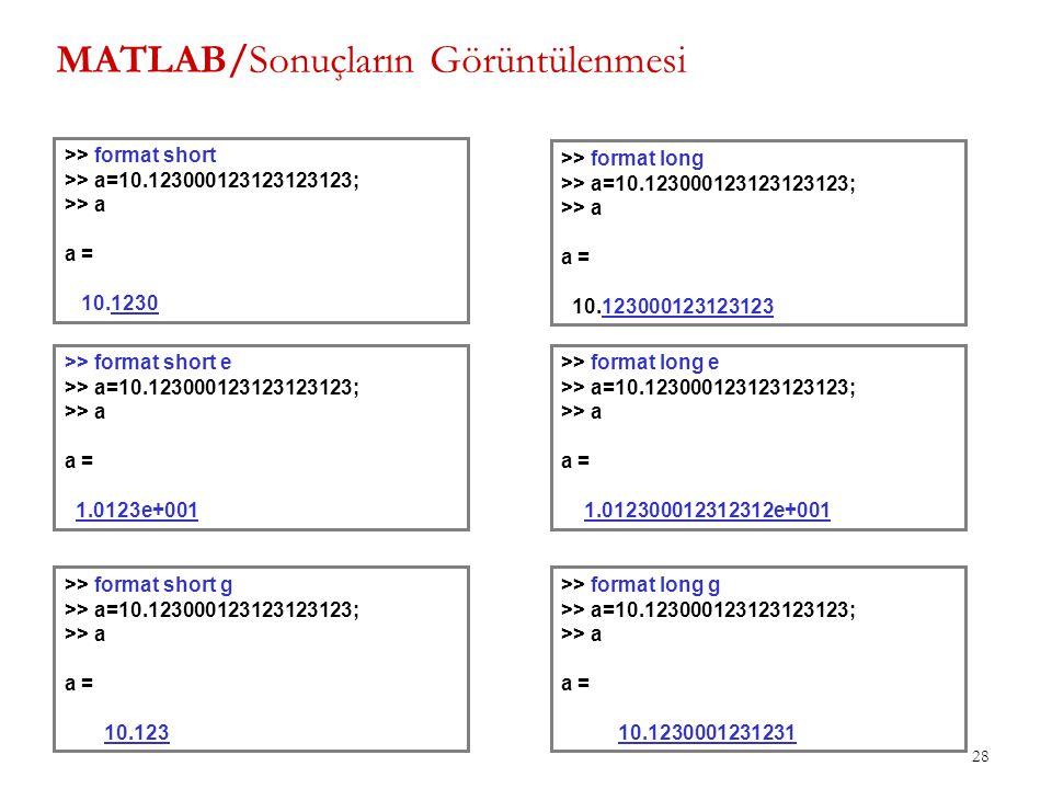MATLAB/Sonuçların Görüntülenmesi 28 >> format short >> a=10.123000123123123123; >> a a = 10.1230 >> format long >> a=10.123000123123123123; >> a a = 1