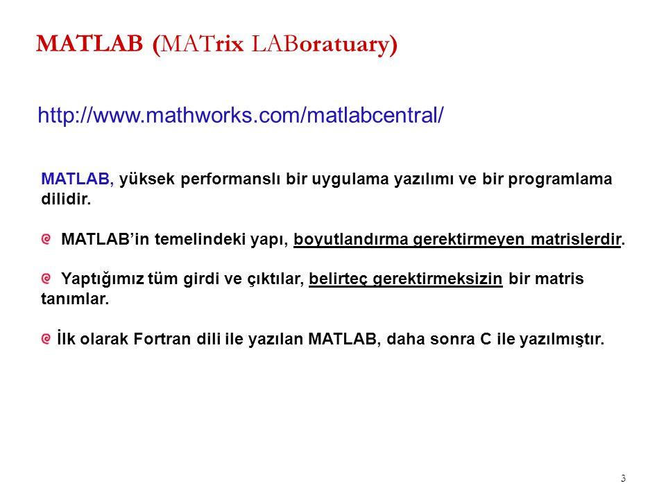 MATLAB/Sonuçların Görüntülenmesi 34 >> a=100.25; >> b=255.23; >> fprintf( a değeri = %5.2f\r ve b değeri = %5.3f \n , a,b) a değeri = 100.25 ve b değeri = 255.230 >> a=100.25; >> b=255.23; >> fprintf( a değeri = %5.2f\b ve b değeri = %5.3f \n , a,b) a değeri = 100.2 ve b değeri = 255.230 >> a=100.25; >> b=255.23; >> fprintf( a değeri = %5.2f\t ve b değeri = %5.3f \n , a,b) a değeri = 100.25 ve b değeri = 255.230 Görüntülenecek açıklamalarda tek tırnak('), yüzde (%) ve ters bölme (\) işaretleri kullanılmak isteniyorsa, arada boşluk bırakmadan ikişer adet kullanılmalıdır.
