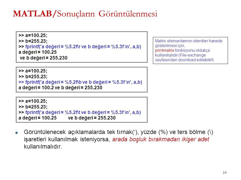 MATLAB/Sonuçların Görüntülenmesi 34 >> a=100.25; >> b=255.23; >> fprintf('a değeri = %5.2f\r ve b değeri = %5.3f \n', a,b) a değeri = 100.25 ve b değe