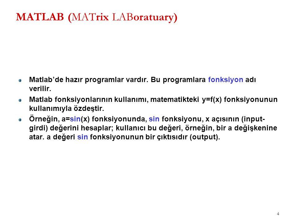 4 MATLAB (MATrix LABoratuary) Matlab'de hazır programlar vardır. Bu programlara fonksiyon adı verilir. Matlab fonksiyonlarının kullanımı, matematiktek