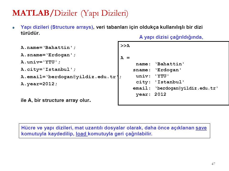 47 MATLAB/Diziler (Yapı Dizileri) Yapı dizileri (Structure arrays), veri tabanları için oldukça kullanılışlı bir dizi türüdür. A.name='Bahattin'; A.sn