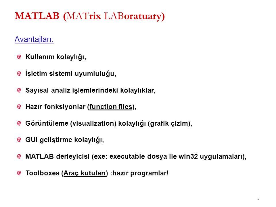 5 MATLAB (MATrix LABoratuary) Kullanım kolaylığı, İşletim sistemi uyumluluğu, Sayısal analiz işlemlerindeki kolaylıklar, Hazır fonksiyonlar (function