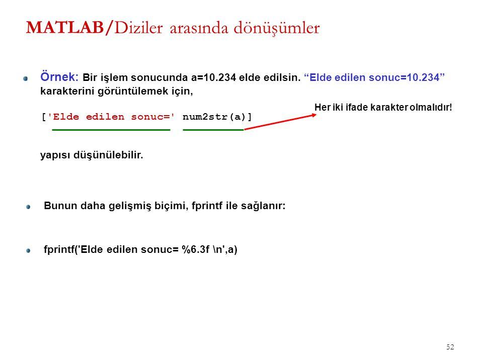"""52 MATLAB/Diziler arasında dönüşümler Örnek: Bir işlem sonucunda a=10.234 elde edilsin. """"Elde edilen sonuc=10.234"""" karakterini görüntülemek için, ['El"""