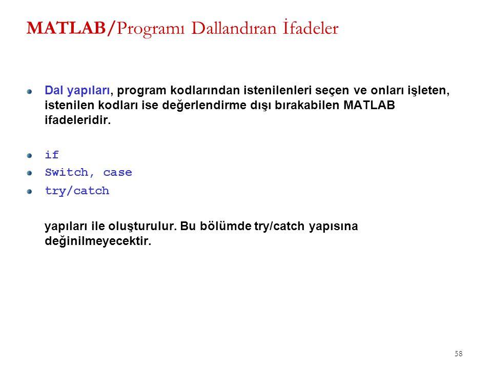 58 MATLAB/Programı Dallandıran İfadeler Dal yapıları, program kodlarından istenilenleri seçen ve onları işleten, istenilen kodları ise değerlendirme d