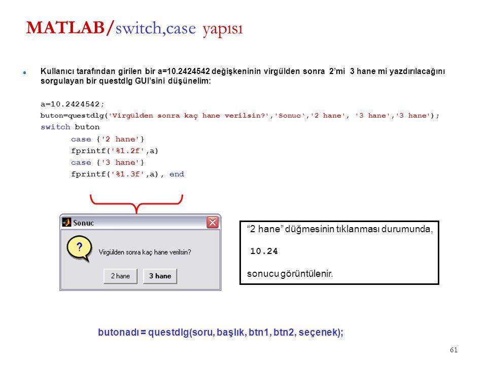 61 MATLAB/switch,case yapısı Kullanıcı tarafından girilen bir a=10.2424542 değişkeninin virgülden sonra 2'mi 3 hane mi yazdırılacağını sorgulayan bir