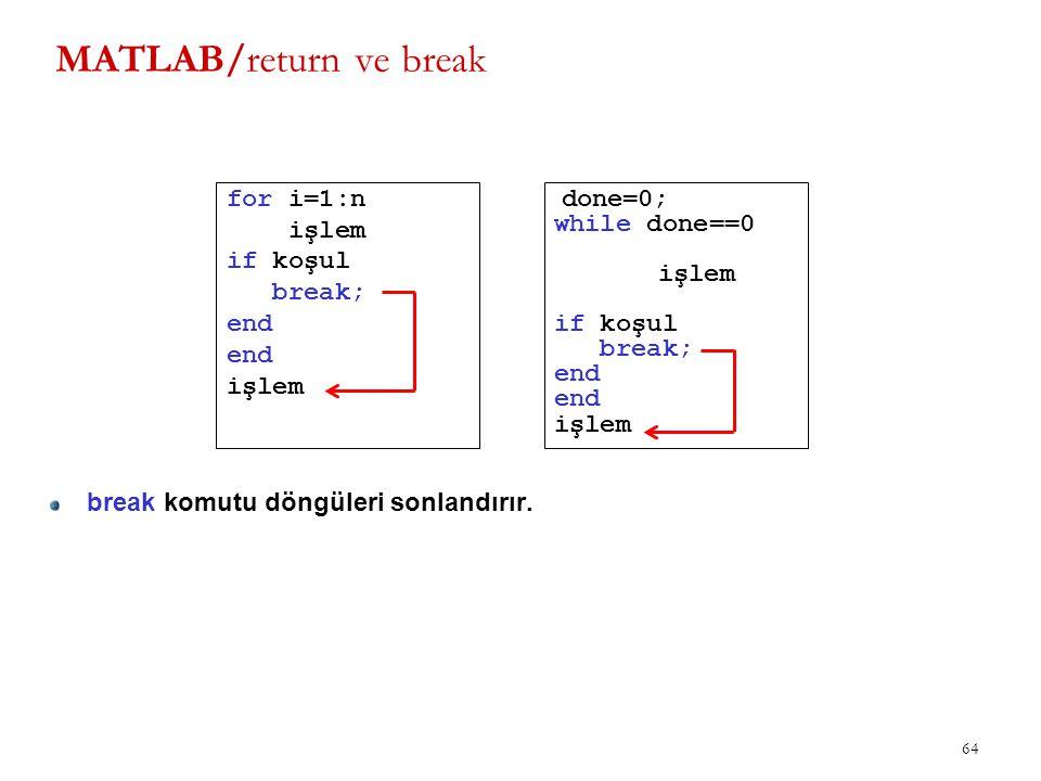 MATLAB/return ve break for i=1:n işlem if koşul break; end işlem 64 done=0; while done==0 işlem if koşul break; end işlem break komutu döngüleri sonla