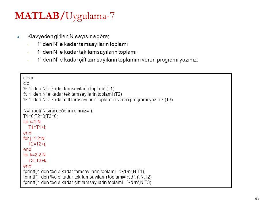 MATLAB/Uygulama-7 Klavyeden girilen N sayısına göre; 1' den N' e kadar tamsayıların toplamı 1' den N' e kadar tek tamsayıların toplamı 1' den N' e kad