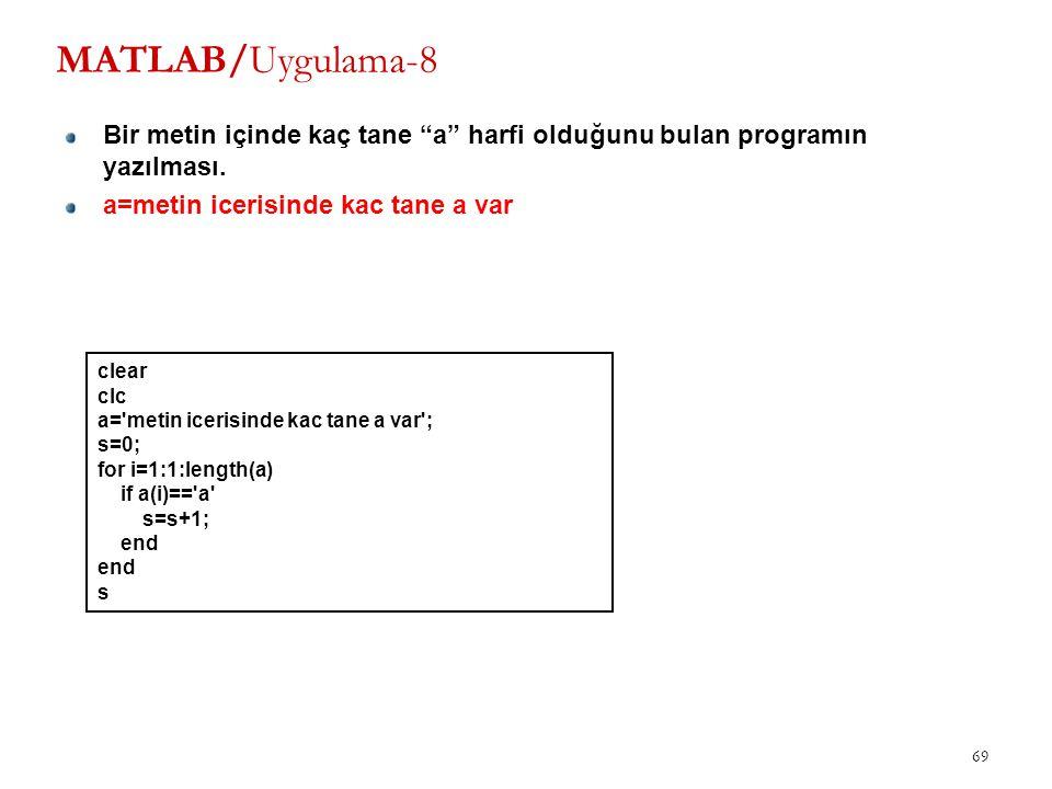 """MATLAB/Uygulama-8 Bir metin içinde kaç tane """"a"""" harfi olduğunu bulan programın yazılması. a=metin icerisinde kac tane a var 69 clear clc a='metin icer"""