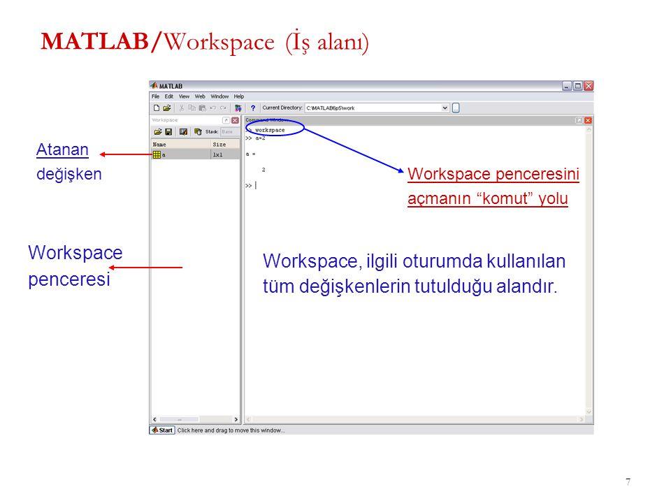 """7 MATLAB/Workspace (İş alanı) Workspace penceresi Atanan değişken Workspace penceresini açmanın """"komut"""" yolu Workspace, ilgili oturumda kullanılan tüm"""