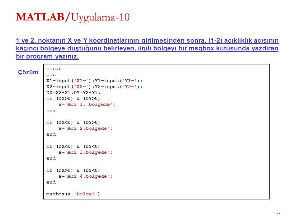 71 MATLAB/Uygulama-10 1 ve 2. noktanın X ve Y koordinatlarının girilmesinden sonra, (1-2) açıklıklık açısının kaçıncı bölgeye düştüğünü belirleyen, il