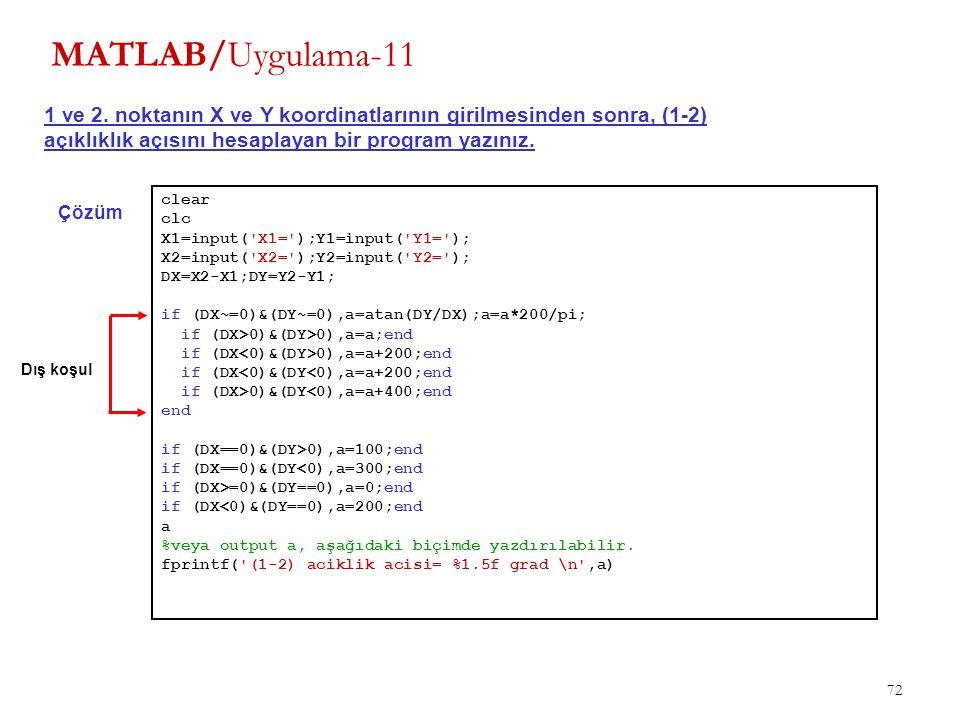 72 MATLAB/Uygulama-11 1 ve 2. noktanın X ve Y koordinatlarının girilmesinden sonra, (1-2) açıklıklık açısını hesaplayan bir program yazınız. clear clc