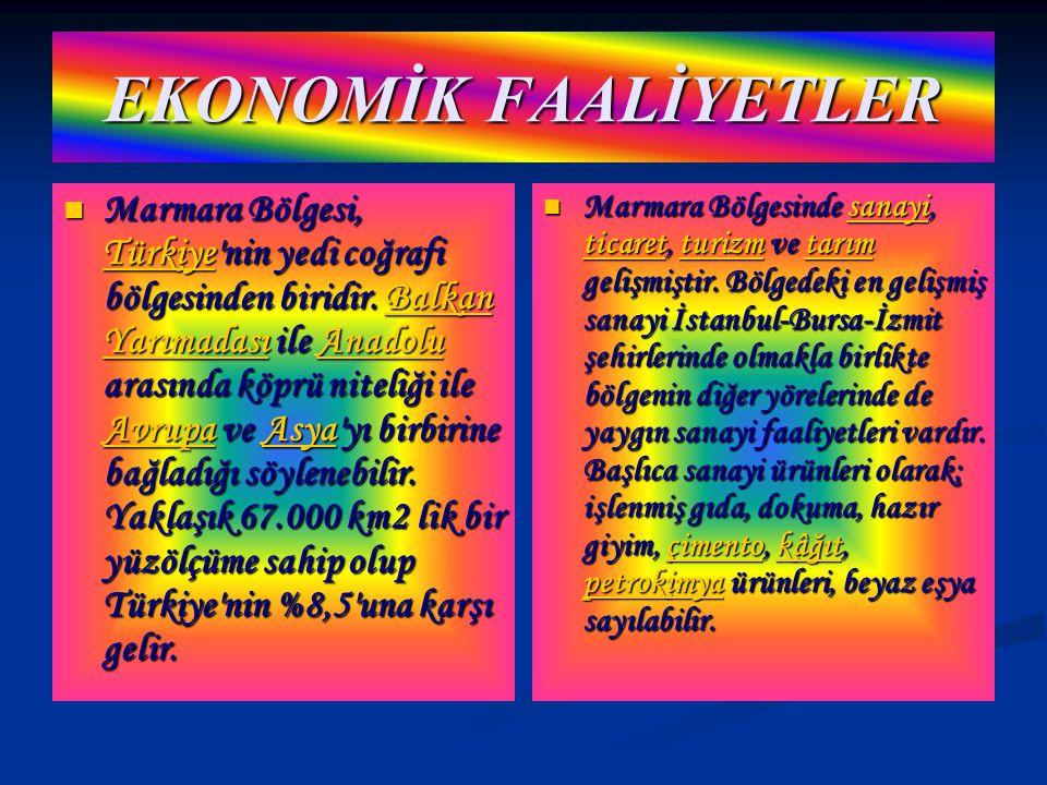 EKONOMİK FAALİYETLER Marmara Bölgesi, TTTT üüüü rrrr kkkk iiii yyyy eeee nin yedi coğrafi bölgesinden biridir.