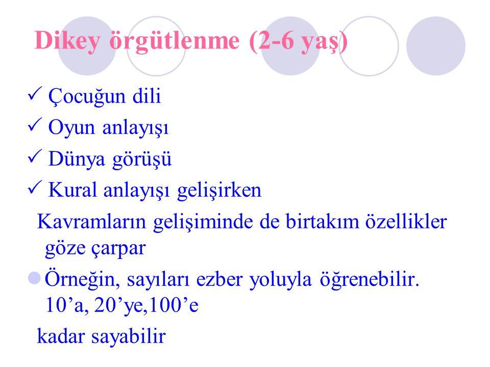 Dikey örgütlenme (2-6 yaş)  Çocuğun dili  Oyun anlayışı  Dünya görüşü  Kural anlayışı gelişirken Kavramların gelişiminde de birtakım özellikler göze çarpar Örneğin, sayıları ezber yoluyla öğrenebilir.