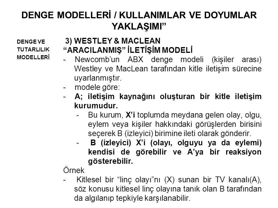 DENGE MODELLERİ / KULLANIMLAR VE DOYUMLAR YAKLAŞIMI DENGE VE TUTARLILIK MODELLERİ 3) WESTLEY & MACLEAN ARACILANMIŞ İLETİŞİM MODELİ -Newcomb'un ABX denge modeli (kişiler arası) Westley ve MacLean tarafından kitle iletişim sürecine uyarlanmıştır.