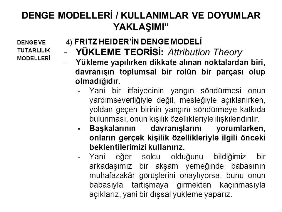 DENGE MODELLERİ / KULLANIMLAR VE DOYUMLAR YAKLAŞIMI DENGE VE TUTARLILIK MODELLERİ 4) FRITZ HEIDER'İN DENGE MODELİ -YÜKLEME TEORİSİ: Attribution Theory -Yükleme yapılırken dikkate alınan noktalardan biri, davranışın toplumsal bir rolün bir parçası olup olmadığıdır.